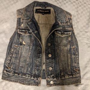 Express Jean Jacket Vest (Size : Small)